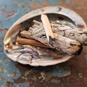 smudge kit. heilig hout, abalone schelp en witte salie om het huis te reinigen