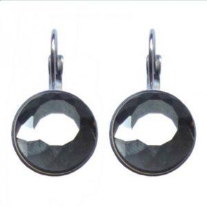 zilveren oorbellen met grijze glimmende ronde steen