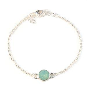 zilveren armbandje verstelbaar met mint groen swarovski elements steentje