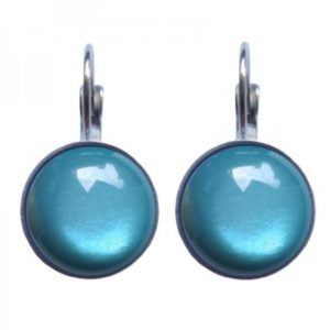 mooie ronde oorbellen met steen in kleur blauw afwerking zilver