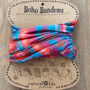 boho bandeau van natural life. op veel verschillende manieren te dragen zoals: haarband, bandeau, sjaal,haarband etc. in de kleuren paars oranje roze en baluw met bleomige afbeeldingen