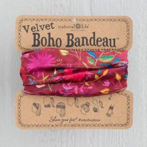 oho bandeau van natural life. op veel verschillende manieren te dragen zoals: haarband, bandeau, sjaal,haarband etc velvet stof met roze en bordeaux kleurige bloemen