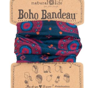 boho bandeau van natural life. op veel verschillende manieren te dragen zoals: haarband, bandeau, sjaal,haarband etc. kleur Navy Berry Medallion