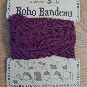 boho bandeau van natural life. op veel verschillende manieren te dragen zoals: haarband, bandeau, sjaal,haarband etc. in de kleur bordeaux van kant