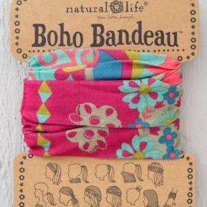 boho bandeau van natural life. op veel verschillende manieren te dragen zoals: haarband, bandeau, sjaal,haarband etc. in de kleur roze met bloemen in groen en blauw