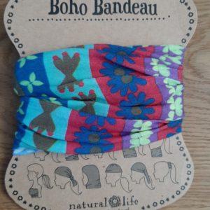 oho bandeau van natural life. op veel verschillende manieren te dragen zoals: haarband, bandeau, sjaal,haarband etc in de kleuren roze blauw en geel met bloemen print