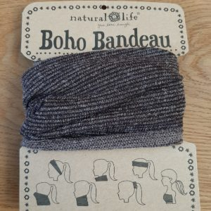 boho bandeau met streepjes in de kleur bruin en glitters. op veel verschillende manieren te dragen. als sjaal, haarband, elastiek of bandeau