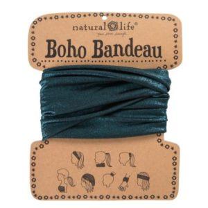 oho bandeau van natural life. op veel verschillende manieren te dragen zoals: haarband, bandeau, sjaal,haarband etc in de kleur blue metallic