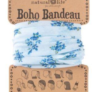 oho bandeau van natural life. op veel verschillende manieren te dragen zoals: haarband, bandeau, sjaal,haarband etc in de kleur lichtblauw met donker blauwe rozen