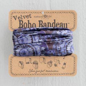 oho bandeau van natural life. op veel verschillende manieren te dragen zoals: haarband, bandeau, sjaal,haarband etc. in stof velvet met paarse tinten