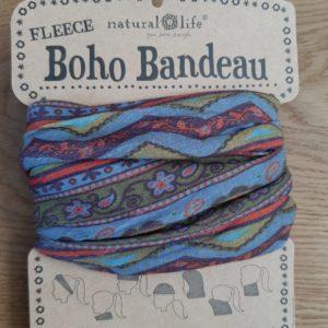 oho bandeau van natural life. op veel verschillende manieren te dragen zoals: haarband, bandeau, sjaal,haarband etc. gemaakt van fleece comfortabel in de kleur forest (blauw groen en bloemen