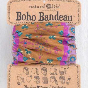 oho bandeau van natural life. op veel verschillende manieren te dragen zoals: haarband, bandeau, sjaal,haarband etc met gold border print en paarse tinten