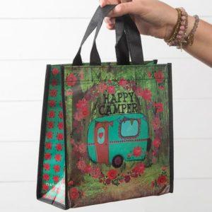 happy bag met tekst happy camper met camper in een bos