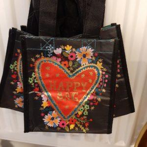 happy bag zwart met hart en tekst happy bag in rood en goud