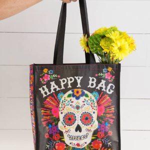 happy bag met afbeelding van sugar skull en bloemen. gemaakt van recyclede water flessen