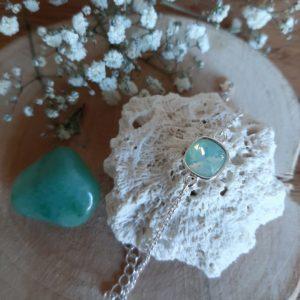 armband zilver met lichte blauwe steen