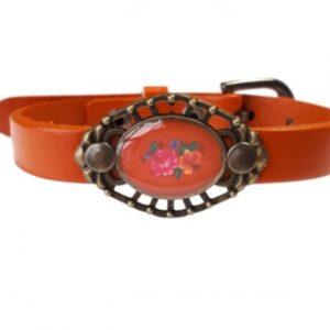 oranje leren armband met boeketje