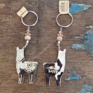 lama sleutelhanger zilver met tekst op de achterkant: llive happy