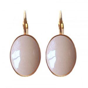 mooi ovaal vormige oorbellen met bloesem kleur en gold plated oorhanger