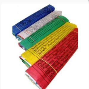 tibetaanse gebedsvlag groot. koord met 10 vlaggen in de kleuren blauw wit groen geel en rood