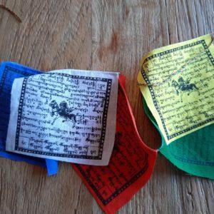 tibetaanse gebedsvlaggetjes. 5 aan een koord in de kleuren wit blauw geel rood en groen.