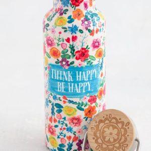 traveler bottle met de tekst think happy be happy en allerlei kleuren bloemen