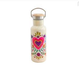 traveller bottle met mooi roze hartje en bloem versiersels
