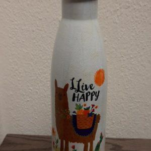 traveler bottle live happy met afbeelding van een lama