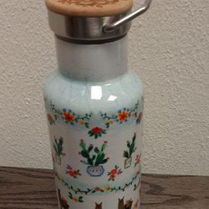travel bottle met leuke print van lamas en cactussen