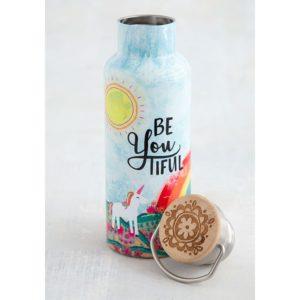 traveler bottle met tekst be you tiful. met een eenhoorn regenboog en zon als afbeelding