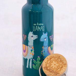 traveler bottle met 2 lamas met de tekst: no drama lamas. bottle is blauw van kleur