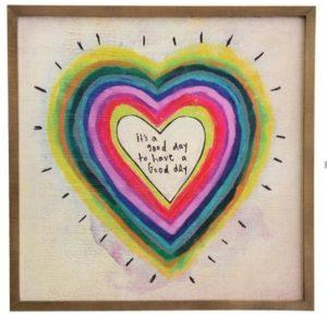 wall art met gekleurd hart in regenboog kleuren