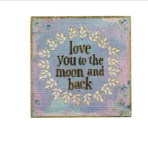 wall art met pastel tinten met tekst love you to the moon and back gouden afwerking