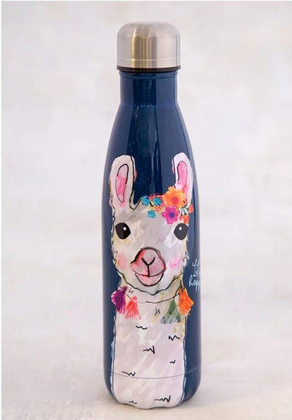 blauwe thermos fles met daarop een witte lama met ketting met tassels en bloemen op het hoofd