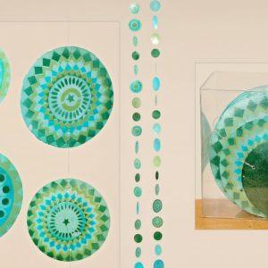 mooie schelp guirlandes van parelmoer als mobiel in blauwgroen, lengte ca. 1,80 m