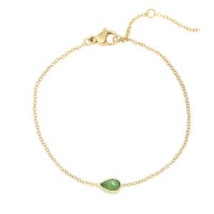 gouden armband met druppelsteentje jade in de kleur groen