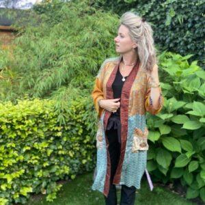 zijde kimono met strikceintuur brown