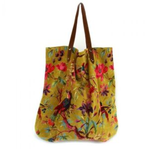 grote stoffen oker tas met patroon van bloemen en vogels