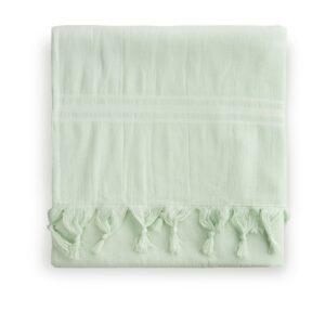 mint groene hamamdoek met korte franjes