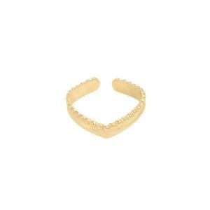 gouden verstelbare ring met kleine inkepingen en een punt in het midden