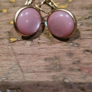 gouden ronde oorbellen met roze dots