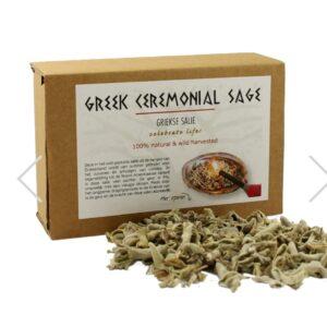 doos met afbeelding van griekse salie met griekse salie ervoor liggend