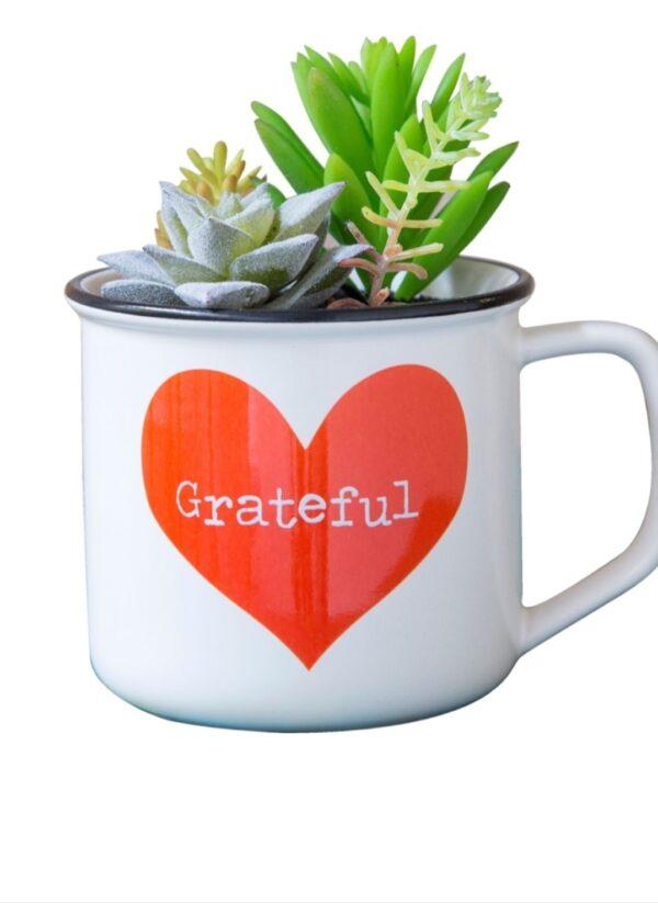 witte mok met rood hart met daarin de tekst grateful. in de mok zit een kunstplantje
