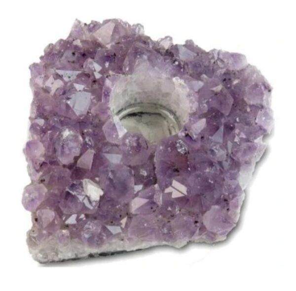 amethist steen kleur paars met een gat erin voor een theelichtje