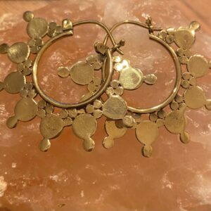 gouden rode oorbellen met rond de oorbel een grote en kleine cirkel aan elkaar