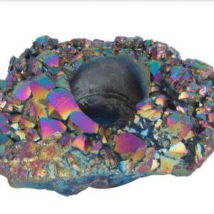 super mooie steen met allerlei kleuren (soort olievlek kleuren) met in het midden een gat voor een waxinelichtje