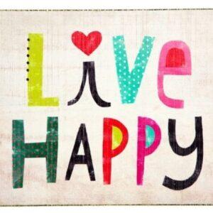 houten wall art met de tekst live happy in vrolijke kleurtjes en een harte boven de i