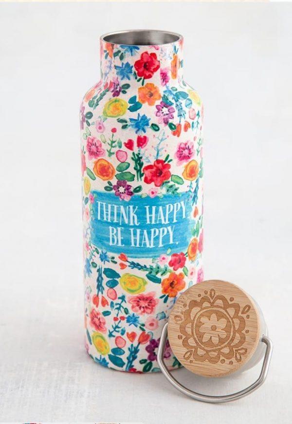 super mooie travel bottle met allerlei kleurrijke bloemen en de tekst: think hapy be hapy met allemaal vrolijke bloemen in verschillende kleuren